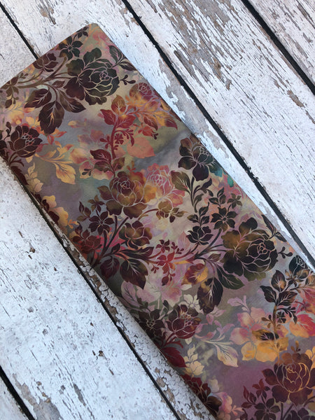 Long Zip Phone Bag - Faux Leather Accent - Cross Body Option - New Colorful Browns Fabric