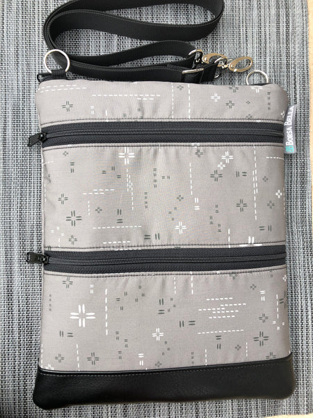 Travel Bags Crossbody Purse - Cross Body - Faux Leather - Tablet Purse - Crosshatch Gray Fabric