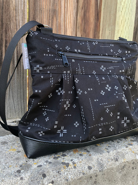 Hobo Purse Cross Body - Shoulder Bag - Crosshatch Black Fabric