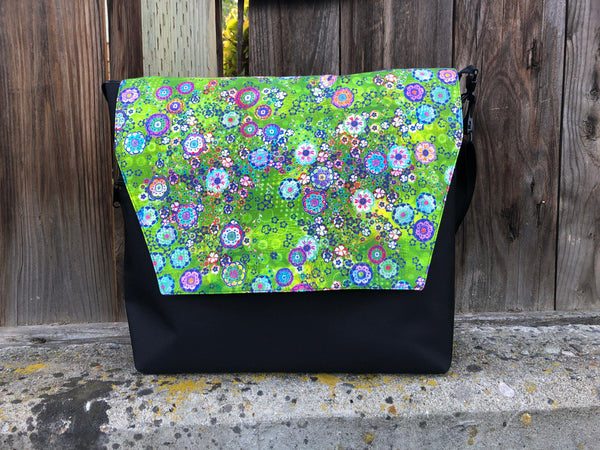Large Messenger Bag - Verde Fabric Flap