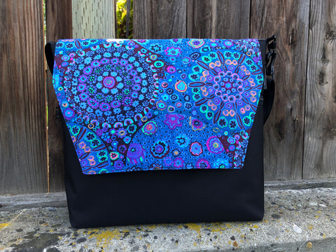 Large Messenger Bag - Murano Glass Flap Fabric