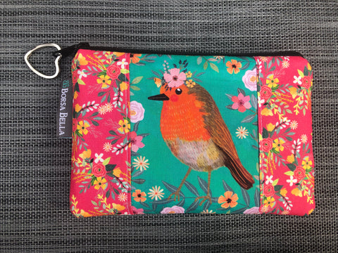 Catch All Zippered Pouch - Limited Edition Orange Bird with Teal Background Fabric