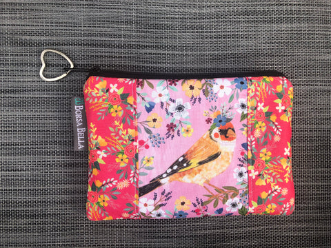 Catch All Zippered Pouch - Limited Edition Yellow Bird with Pink Background Fabric