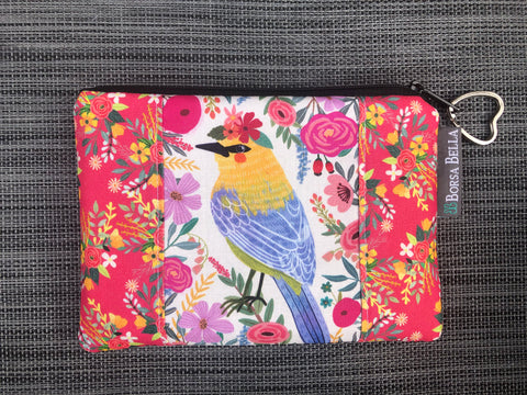 Catch All Zippered Pouch - Limited Edition Yellow/Blue Bird with Cream Background Fabric