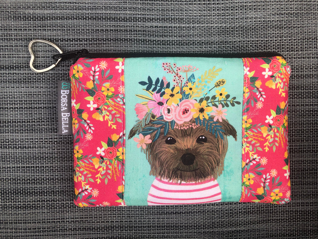 Catch All Zippered Pouch - Limited Edition Dog with Pink Strip Shirt Fabric