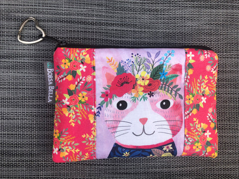 Catch All Zippered Pouch - Limited Edition Pink Cat with Dark Blue Shirt Fabric