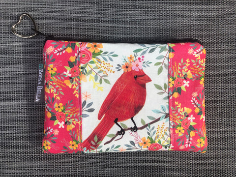 Catch All Zippered Pouch - Limited Edition Red Bird with Cream Background Fabric