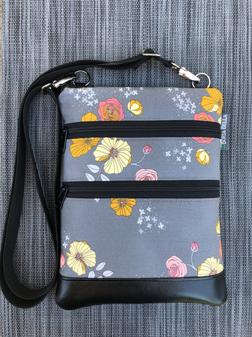 Travel Bags Crossbody Purse - Cross Body - Faux Leather - Tablet Purse - Moonblooms Fabric
