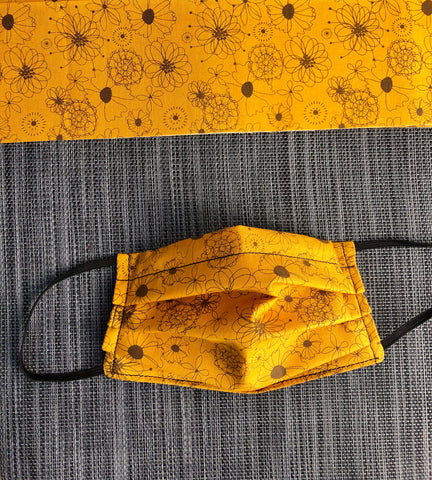 3 layer Face Mask Limited Edition - Autumn Yellow Fabric