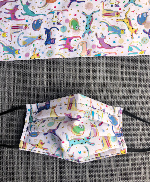3 layer Face Mask Limited Edition - Fancy Cats Fabric