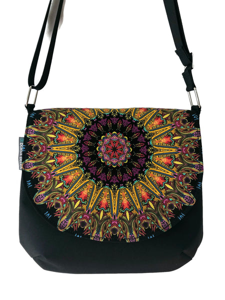 Bigger Bitsy Messenger Purse - Mandala Purple Ring Fabric
