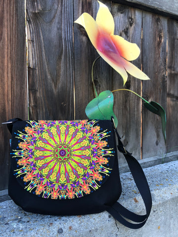 Bigger Bitsy Messenger Purse - Mandala Lime Fabric