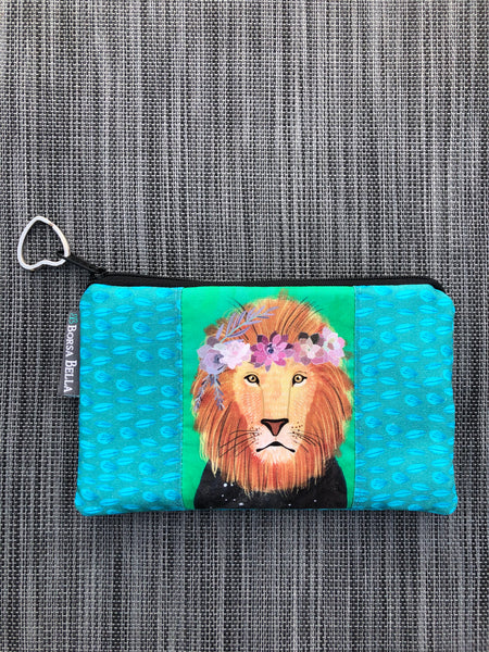 Catch All Zippered Pouch - Limited Edition Lion Fabric