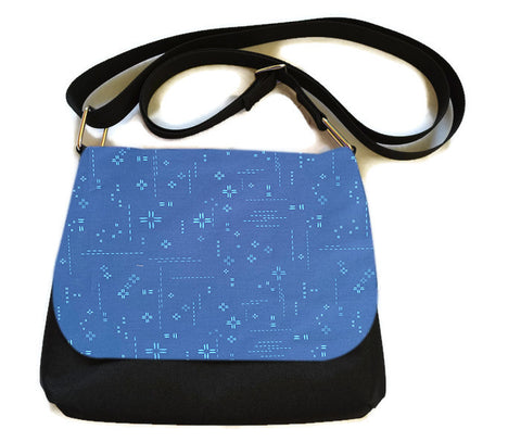 Itsy Bitsy/Bigger Bitsy Messenger Purse - Bright Blue Crosshatch Fabric