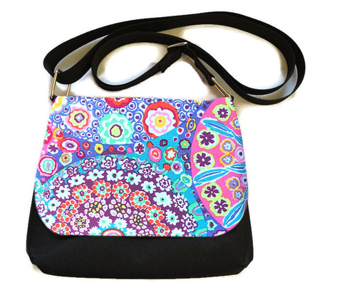 Itsy Bitsy/Bigger Bitsy Messenger Purse - Flower Scope Fabric