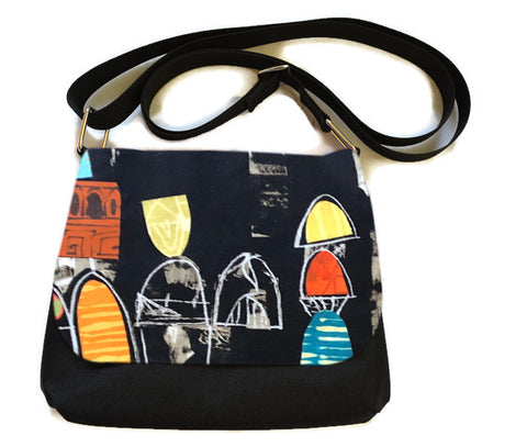 Itsy Bitsy Messenger Purse - Art Deco Fabric