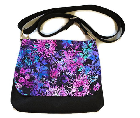Itsy Bitsy/Bigger Bitsy Messenger Purse - Floragraphics Purple Fabric