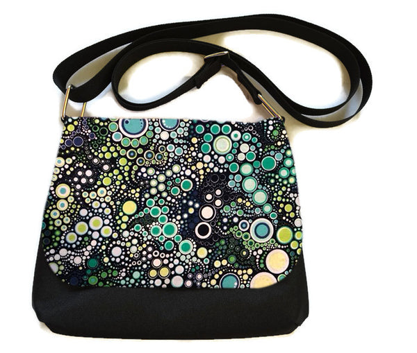Itsy Bitsy/Bigger Bitsy Messenger Purse - Ocean Blue Dots Fabric
