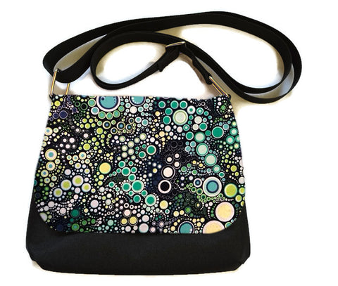 Itsy Bitsy Messenger Purse - Ocean Blue Dots Fabric