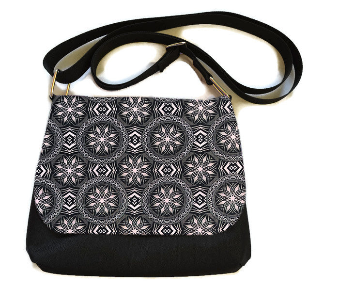 Itsy Bitsy/Bigger Bitsy Messenger Purse - Bronze and Black Elegance Fabric