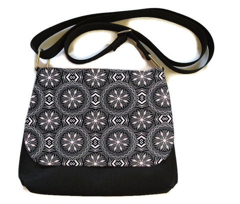 Itsy Bitsy Messenger Purse - Bronze and Black Elegance Fabric