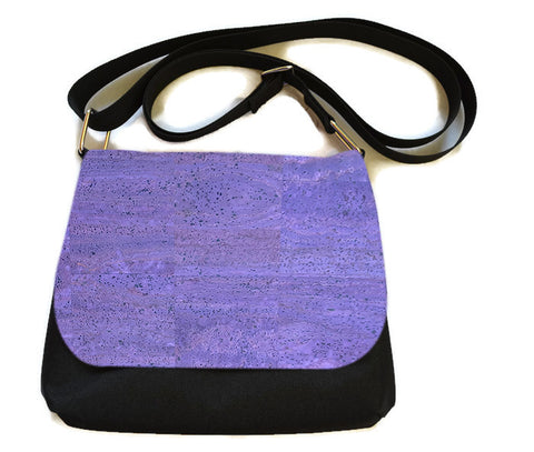 Itsy Bitsy Messenger Purse - Purple Cork Leather Fabric