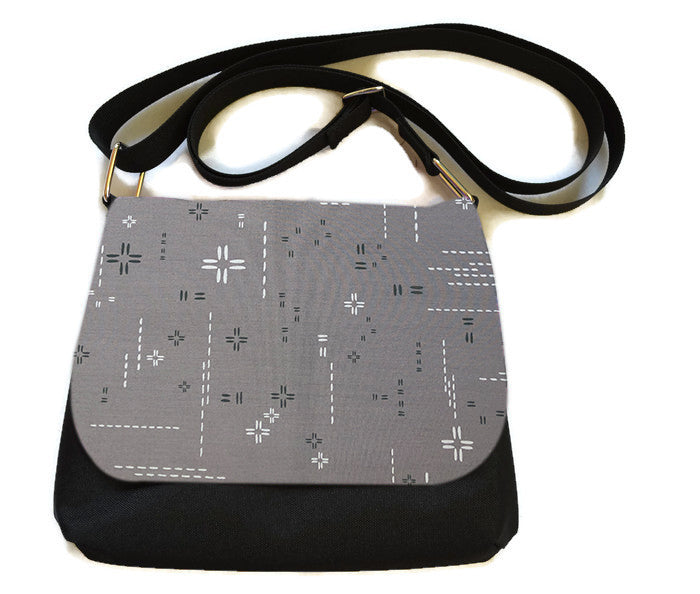 Itsy Bitsy/Bigger Bitsy Messenger Purse - Crosshatch Gray Fabric