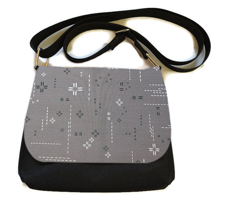 Itsy Bitsy Messenger Purse - Crosshatch Gray Fabric