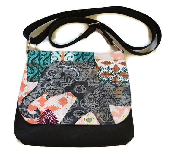 Itsy Bitsy Messenger Purse - Indi Elephant Fabric