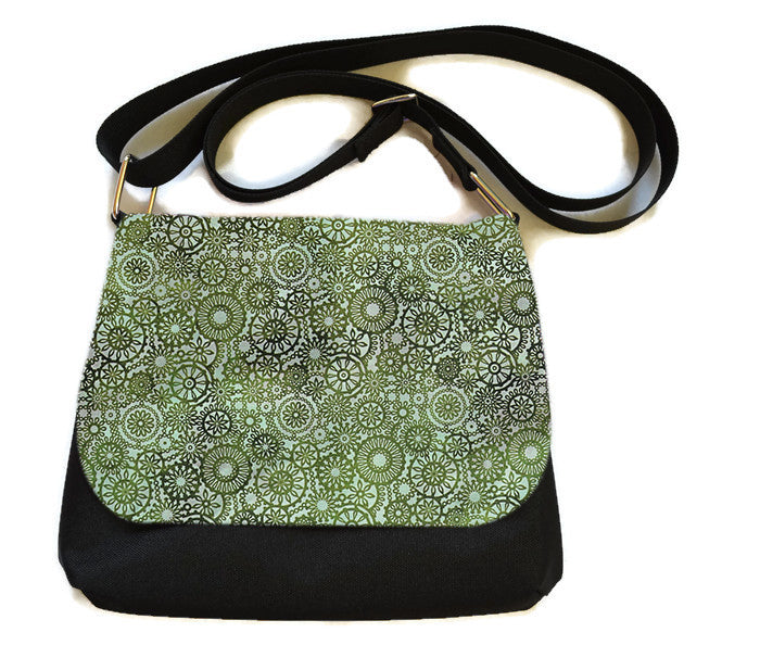 Itsy Bitsy/Bigger Bitsy Messenger Purse - Green Lace Fabric