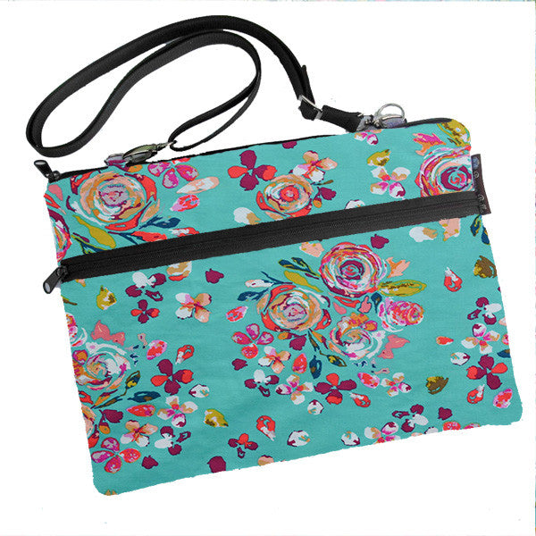 Laptop Bags - Shoulder or Cross Body - Adjustable Nylon Straps - Bountiful Teal Fabric