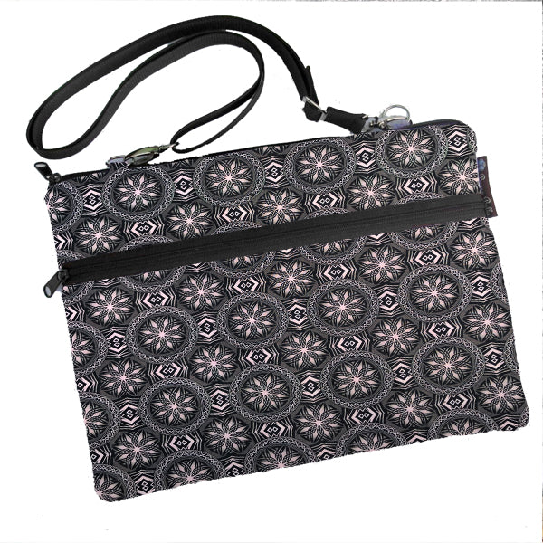 Laptop Bags - Shoulder or Cross Body - Adjustable Nylon Straps - Bronze and Black Elegance Fabric