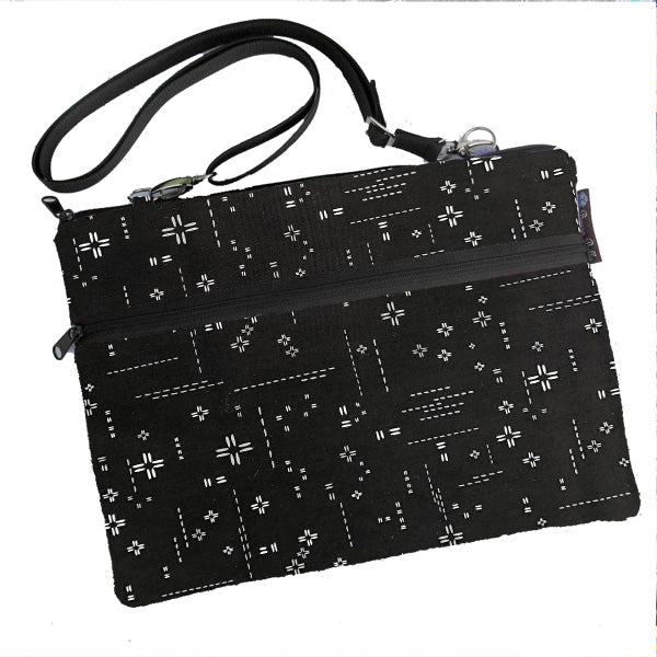Laptop Bags - Shoulder or Cross Body - Adjustable Nylon Straps - Crosshatch Black Fabric