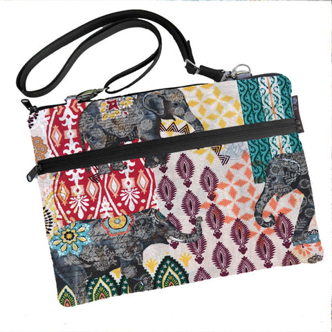 Laptop Bags - Shoulder or Cross Body - Adjustable Nylon Straps - Indi Elephants Fabric