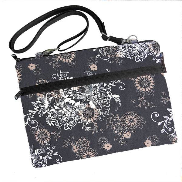 Laptop Bags - Shoulder or Cross Body - Adjustable Nylon Straps - Black Beauty Fabric