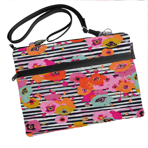 Laptop Bags - Shoulder or Cross Body - Adjustable Nylon Straps - Floral Notes Fabric