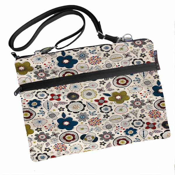 Laptop Bags - Shoulder or Cross Body - Adjustable Nylon Straps - Doodle Flowers Canvas Fabric in Cream