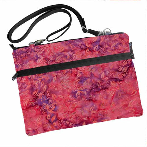 Laptop Bags - Shoulder or Cross Body - Adjustable Nylon Straps - Purple and PInk Batik Fabric
