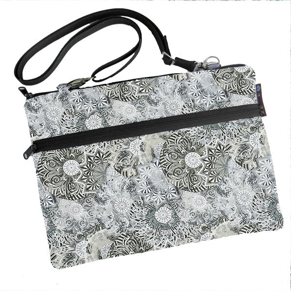 Laptop Bags - Shoulder or Cross Body - Adjustable Nylon Straps - Spirograph Gray Fabric