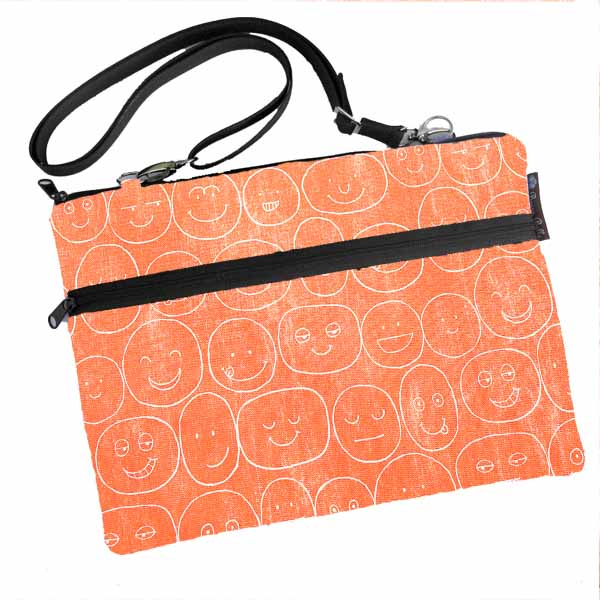 Laptop Bags - Shoulder or Cross Body - Adjustable Nylon Straps - Orange Expression Canvas Fabric