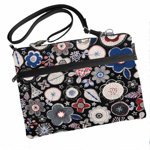 Laptop Bags - Shoulder or Cross Body - Adjustable Nylon Straps - Doodle Flowers Canvas Fabric in Black