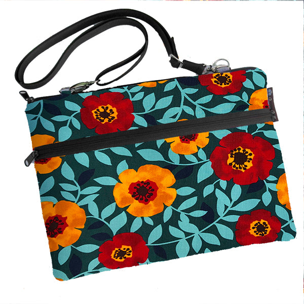 Laptop Bags - Shoulder or Cross Body - Adjustable Nylon Straps - Poppy Love Fabric
