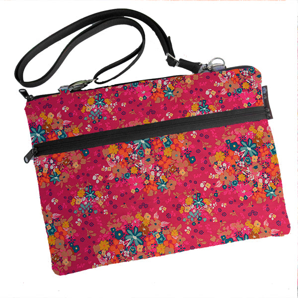 Laptop Bags - Shoulder or Cross Body - Adjustable Nylon Straps - Winter Pink Fabric