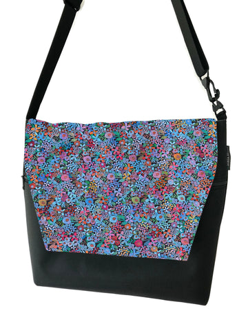 Large Messenger Bag - Mini Wild Flowers Fabric