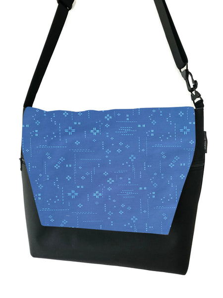 Large Messenger Bag - Bright Blue Crosshatch Fabric