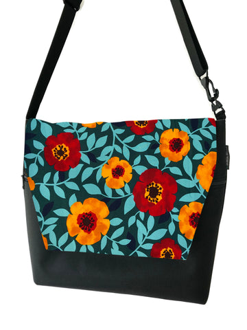 Large Messenger Bag - Poppy Love Flap Fabric
