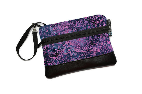 Long Zip Phone Bag - Faux Leather Accent - Cross Body Option -  Plum Perfect Batik Fabric