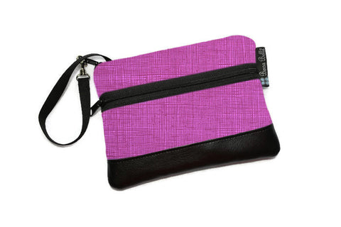Long Zip Phone Bag - Faux Leather Accent - Cross Body Option - Berry Purple Fabric