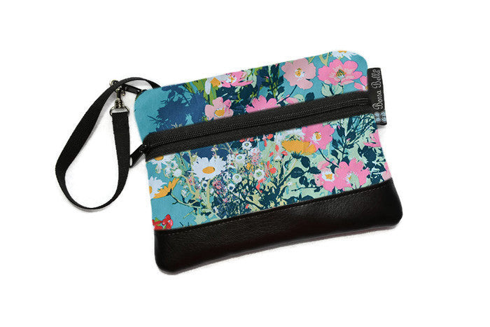 LongZip Phone Bag - Faux Leather Accent - Cross Body Option -  I walk in the Garden... Batik Fabric