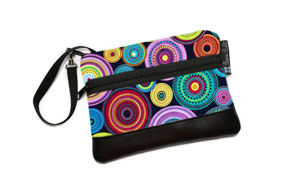 Long Zip Phone Bag - Faux Leather Accent - Cross Body Option -  Norther Lights Fabric